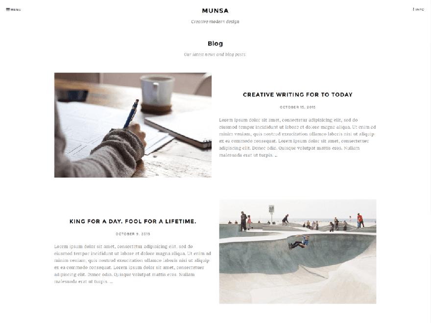 Munsa-lite - Free Photography WordPress Theme