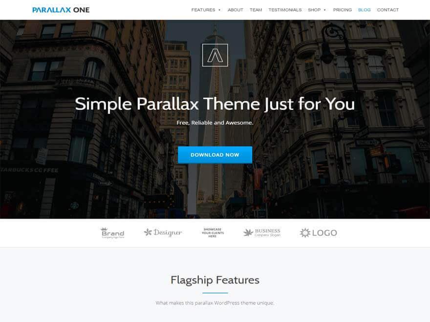 parallax-one free WordPress landing page theme