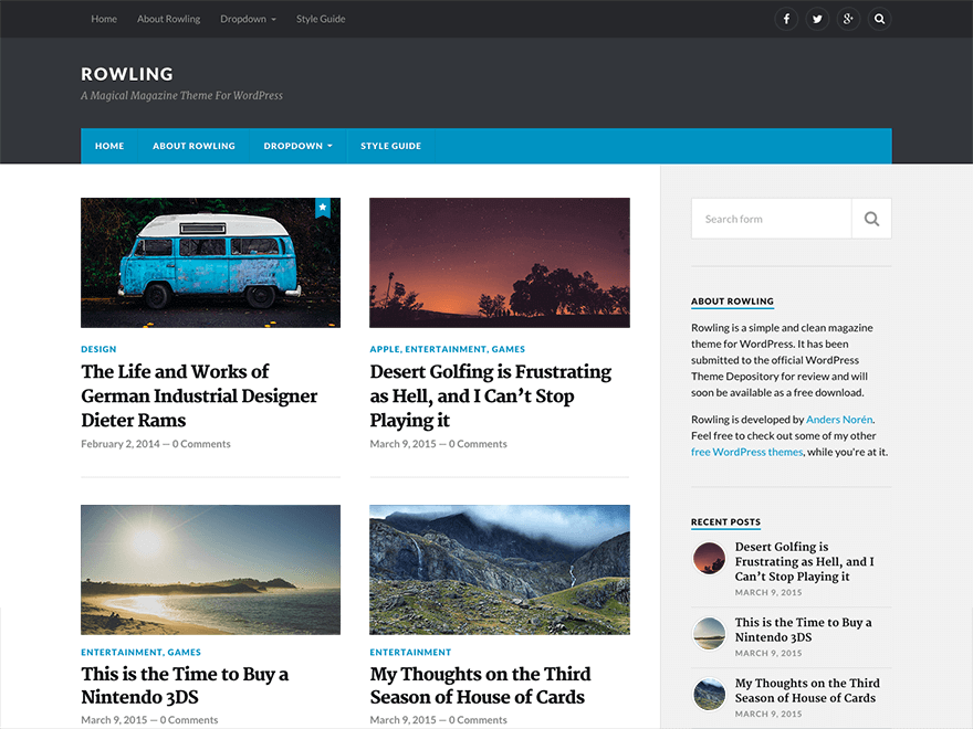 rowling - 25+ Best Free Responsive Magazine WordPress Themes 2019