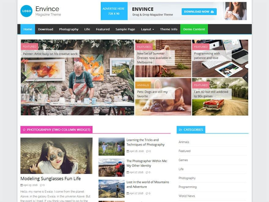 Envice - 25+ Best Free Responsive Magazine WordPress Themes 2019