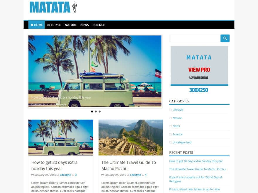 Matata - 25+ Best Free Responsive Magazine WordPress Themes 2019