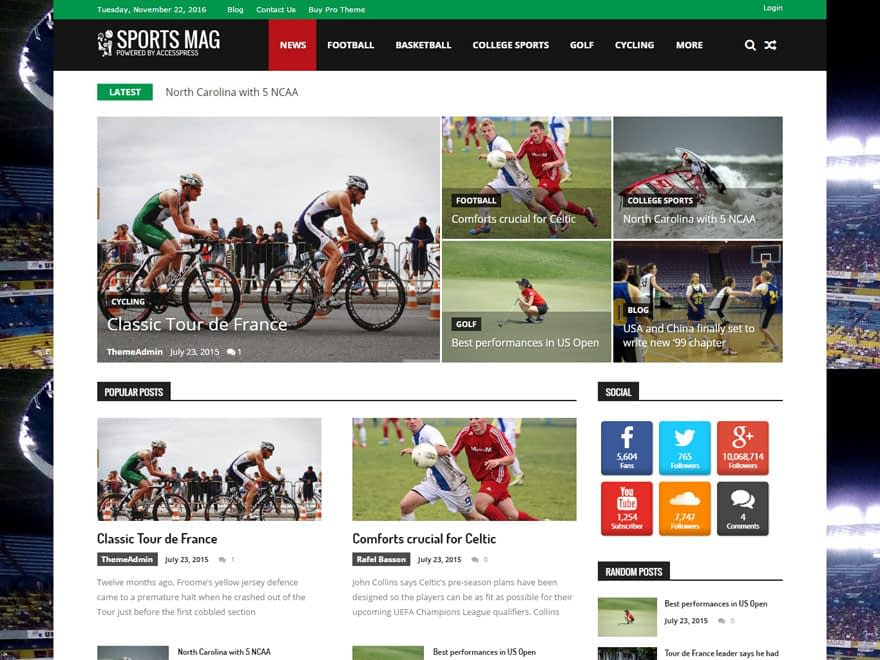 sportsmag - 25+ Best Free Responsive Magazine WordPress Themes 2019