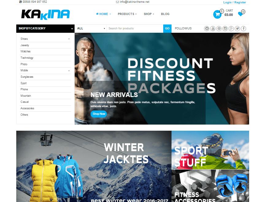 Kakina - 17+ Responsive Free eCommerce WordPress Themes for 2019