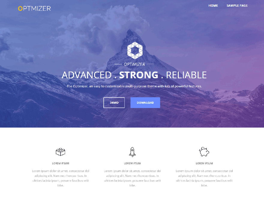 optmizer - 21+ Best Free One Page WordPress Themes and Templates 2019