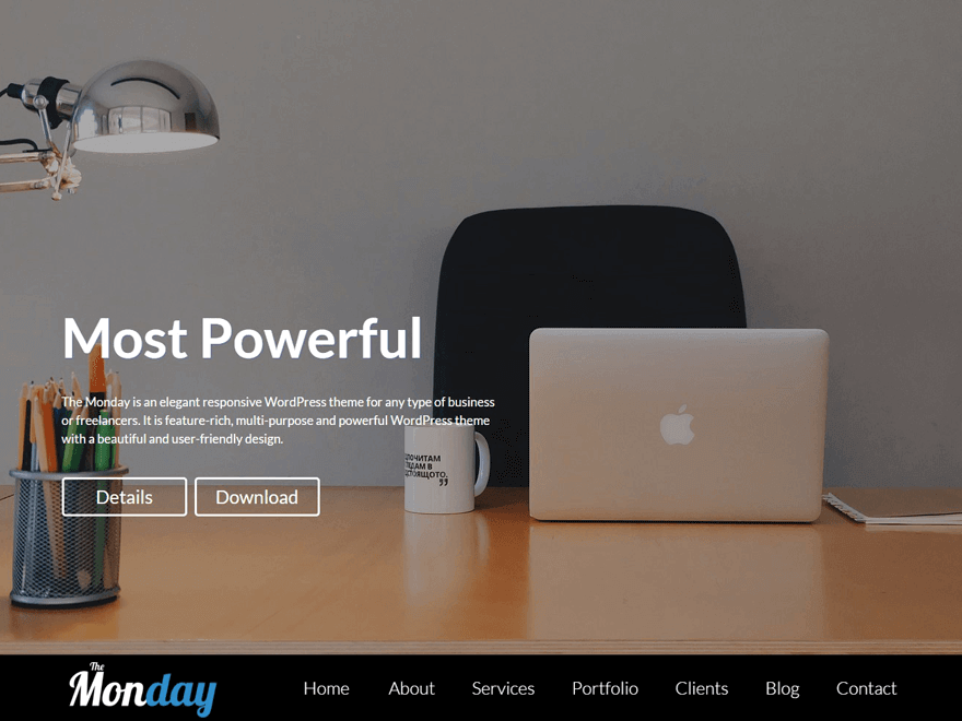 the monday - 21+ Best Free One Page WordPress Themes and Templates 2019