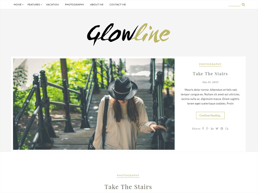 GlowLine 1 - 23+ Best Free Photography WordPress Themes & Templates 2019
