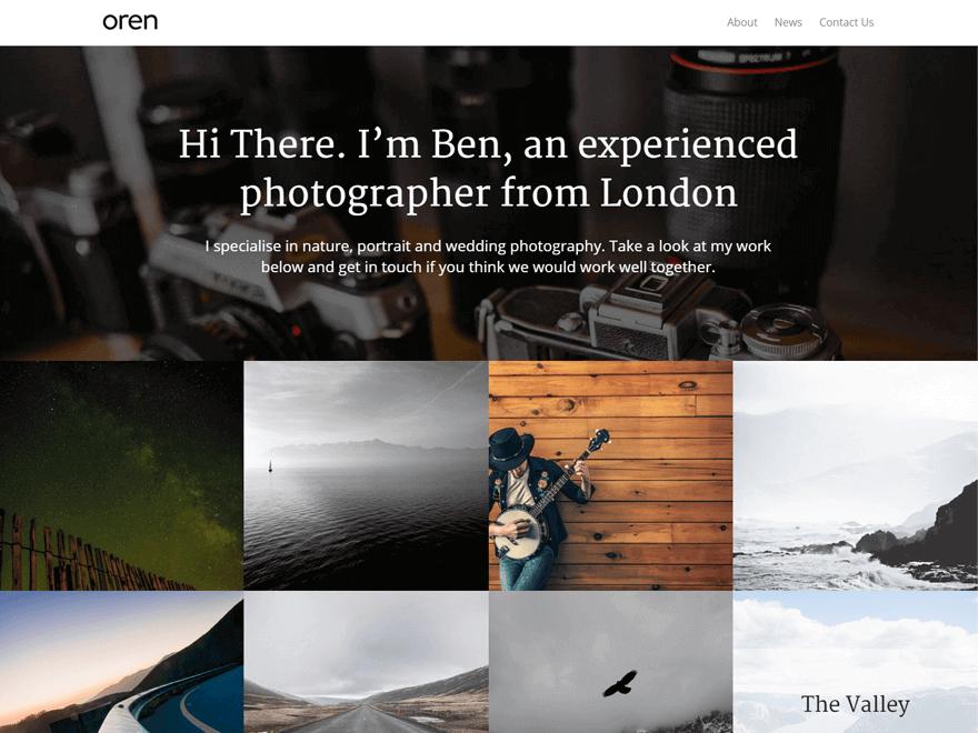 oren - 23+ Best Free Photography WordPress Themes & Templates 2019