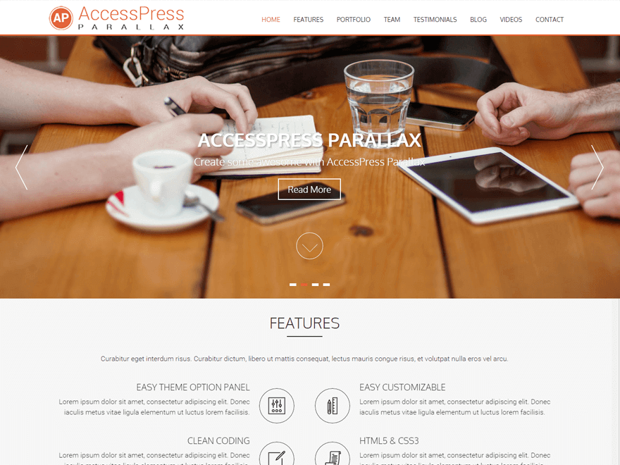 AccessPress Parallax - 21+ Best Free One Page WordPress Themes and Templates 2019