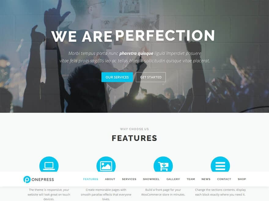 OnePress1 - 30+ Best Free WordPress Landing Page Themes and Templates 2019