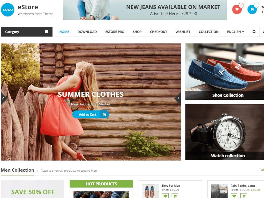 eStore - 17+ Responsive Free eCommerce WordPress Themes for 2019