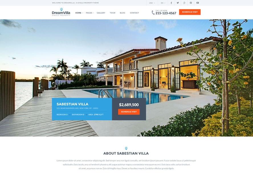 dreamvilla best free premium real estate wordpress theme - 25+ Best Real Estate WordPress Themes Free & Premium