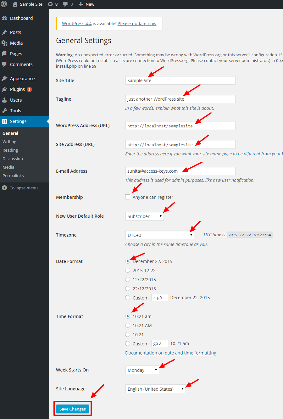 general settings - A complete guide to WordPress for beginners