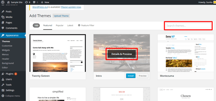 preview themes - A complete guide to WordPress for beginners