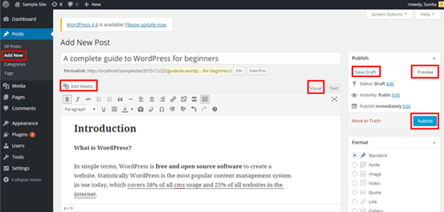 post editor - A complete guide to WordPress for beginners