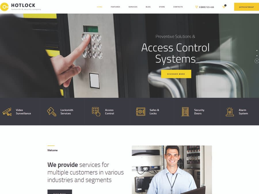 HotLock Locksmith & Security Systems WordPress Theme