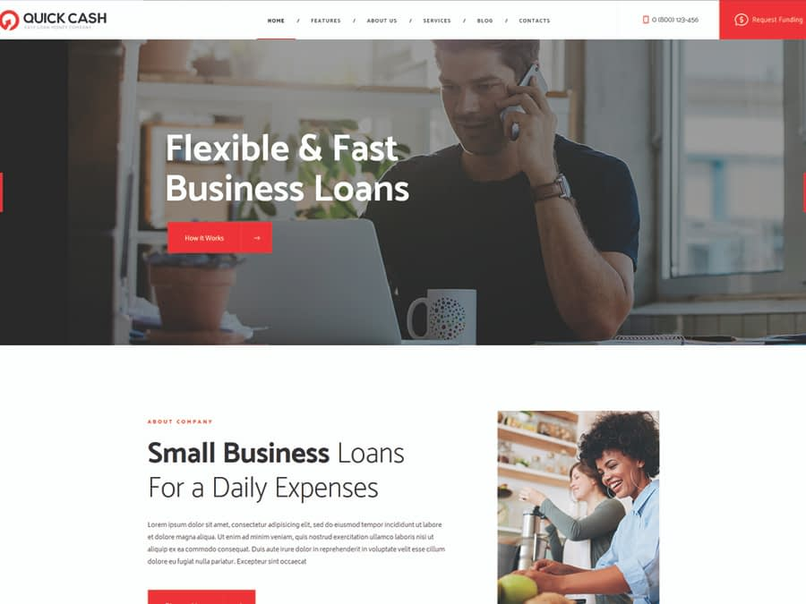 Quick Cash Loan Company & Finance Advisor WordPress Theme