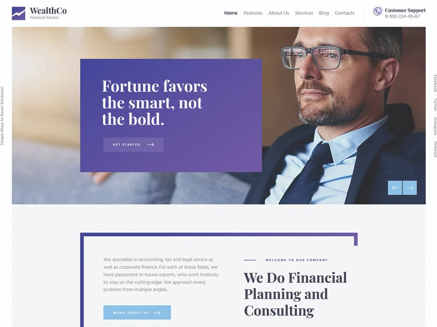 WealthCo A Fresh Business & Financial Consulting WordPress Theme