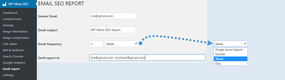 SEO Email selection - WP Meta SEO - A Complete SEO Solution for WordPress Websites