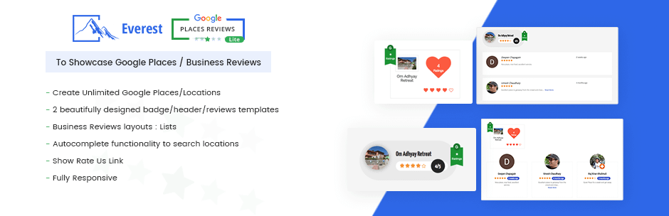 Everest Google Places Reviews Lite - 5+ Best Free WordPress Google Place Review Plugins