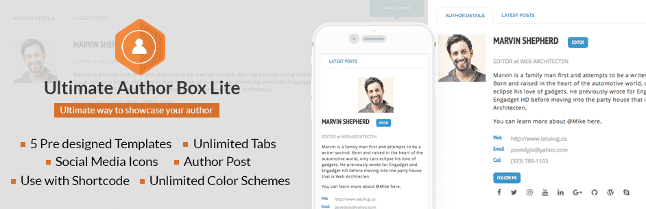 Free Responsive Post/Article Author Section Plugin for WordPress – Ultimate Author Box Lite