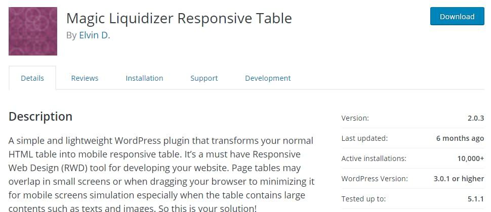 Magic Liquidizer Responsive Table