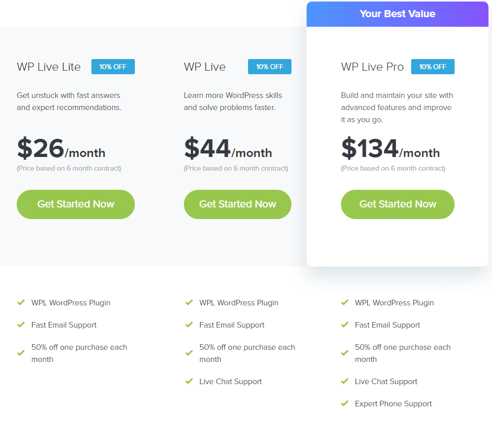 WP Live Support - 6 Month Subscription