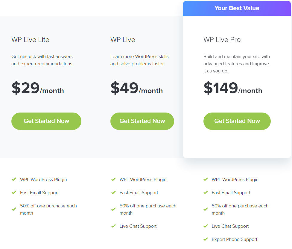 WP Live Support - Monthly Subscription