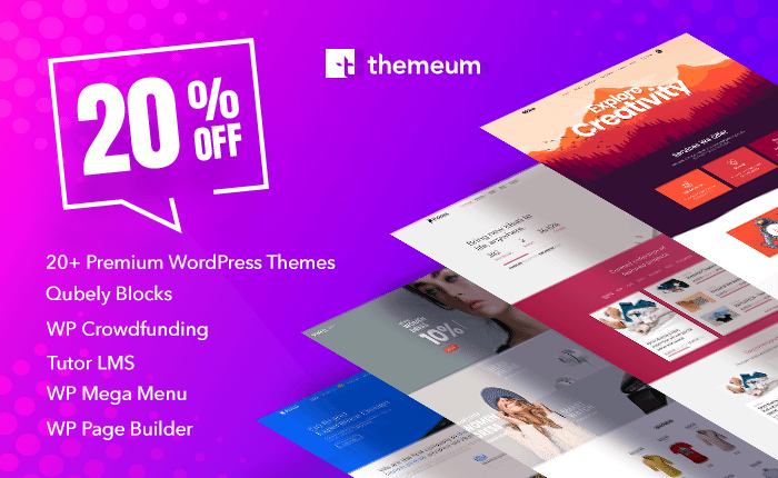 20% Off on All Premium Themes & Plugins by Themeum