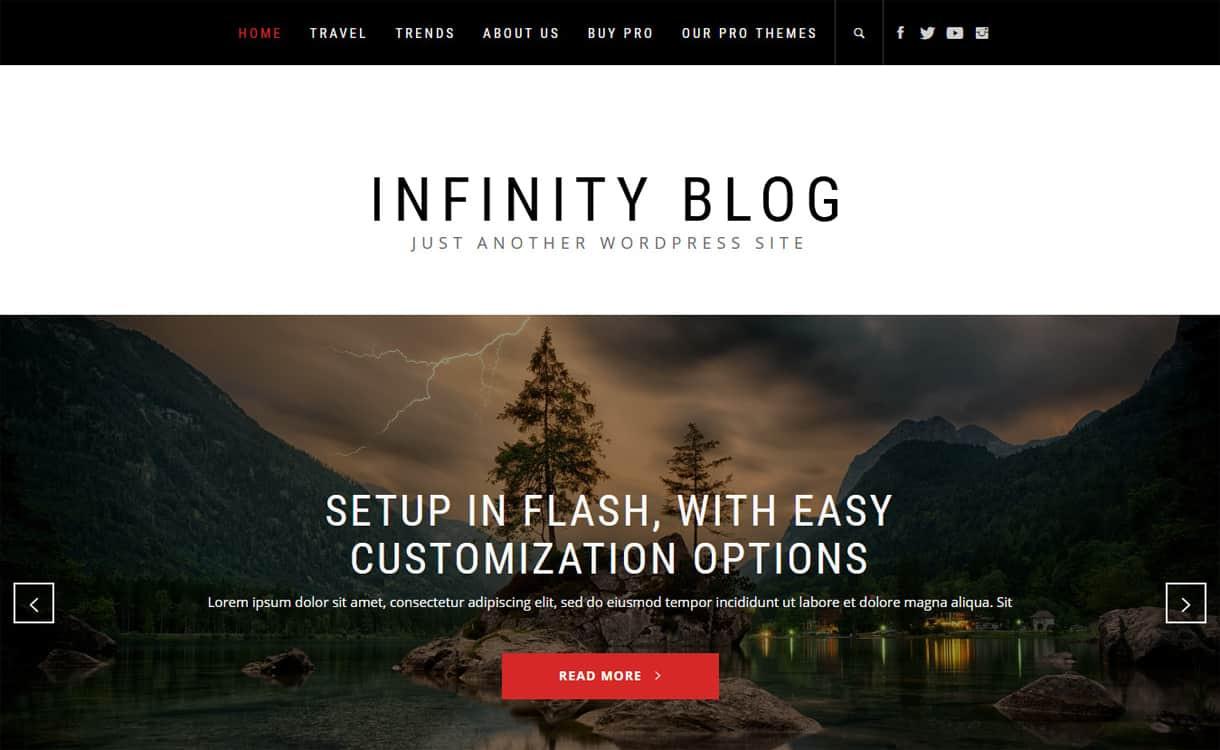 infinity blog - 21+ Best Free WordPress Themes May 2018